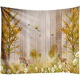 Schicke natürliche Landschaft Wandteppich Blume Holzkorn dekorative Wandteppich hängen Stoff Hintergrund Stoff für Schlafzimmer und Wohnzimmer51X59Inch (130X150)