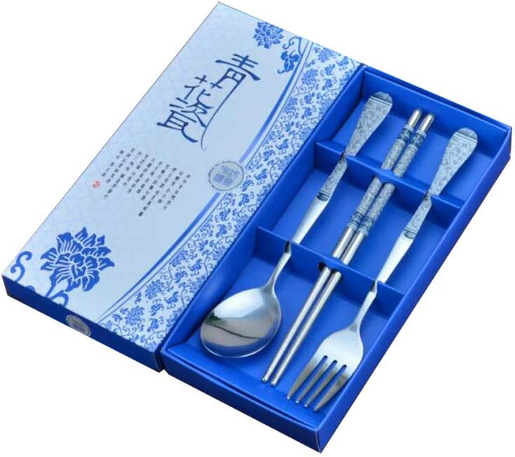DRAGON SONIC Set of low-pricing 4 Stainless T Steel Porcelain and Blue White Cheap mail order specialty store