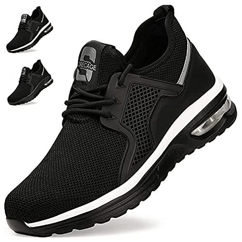 Zapatos de Seguridad Hombre Mujer Zapatillas de Trabajo con Punta de Acero Ligeras Transpirables Calzado de Seguridad con Colchón de Aire Calzado de Industrial y Deportivos Negro-Blanco A EU 44