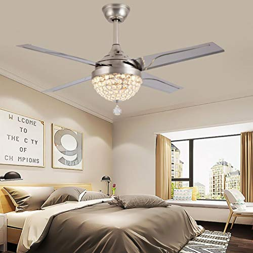 TiptonLight Modern Ceiling Fans with Light, Remote control Crystal Chandelier Ceiling Fans 44Inch Home Decorative Lamp for Living Room, Bedroom, Dining Room
