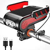 ZKCREATION Bike Lights with Phone Holder 4 in 1 Bicycle Front Light USB Rechargeable Emergency Power Bank Fits Hiking Camping Fishing Mountain Climbing