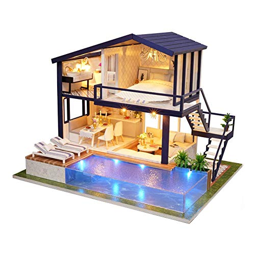 Domybest Casa delle Bambole in Legno Fai da Te Miniature 3D Villa Modellismo Giocattolo di Casa DIY in Legno Modello da Costruire Artigianato
