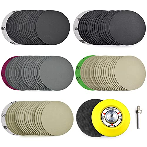 POLIWELL 3 Inch (75mm) Assorted 800/1000/2000/3000/5000 Grit High Performance Heavy Duty Silicon Carbide Wet/Dry Hook & Loop Sanding Discs with 1/4 inch Shank Sanding Pad + Foam Buffering Pad, 100PCS