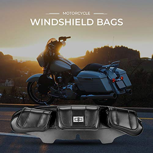 Find Bargain Motorcycle Windshield Bag 3 Pouch Pocket for 1996-2012 2013 Touring Street Glide Electr...