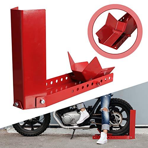 BMOT Balancín mate para motocicleta, soporte de montaje, ajustable para remolque, rueda delantera, soporte de transporte, para todo tipo de ruedas delanteras, protege contra el óxido, color rojo