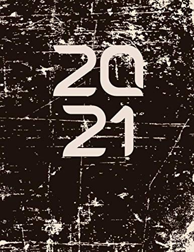 2021 8.5 x 11 planner - 2021-2022 Weekly and Monthly: 2021 Planner - Weekly & Monthly Planner - Black Grunge Well Worn Design