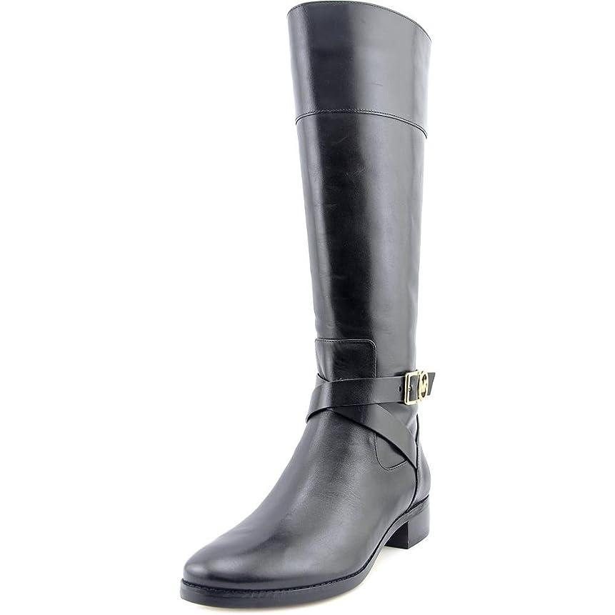 冬スーパーマーケットしたいMichael Michael Kors Brye BootレディースラウンドトウレザーブラックKnee High Boot