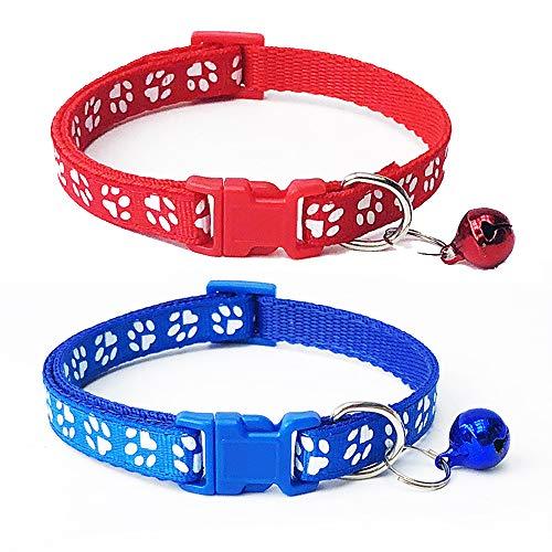 U/K Collar para gato con campana de seguridad, cierre rápido, hebilla ajustable, 2 piezas, rojo y azul, práctico y práctico