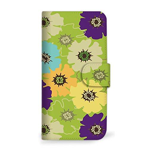 mitas Galaxy Note8 SCV37 ケース 手帳型 花 花柄 花がら フラワー グリーン (360) SC-0059-GR/SCV37