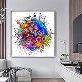 SHKJ Carteles Abstractos de Arte de Pared Graffiti Loros Coloridos Mariposa Pinturas en Lienzo para Sala de Estar Cuadro Decorativo para el hogar 80x80cm / 31.5'x31.5 Sin Marco