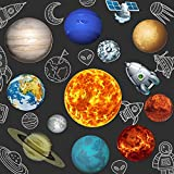 Blulu 13 Pieces Solar System Party Supplies, 2 Sides Printed Solar System Cutouts Planet Cutouts for Outer Space Decorations