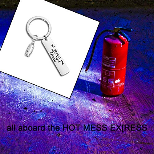 WUSUANED Sarcastic Keychain All Aboard The Hot Mess Express Funny Keychain Fire Extinguisher Jewelry Gift for Her