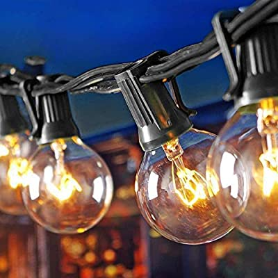 (2 Pack) 25Ft Outdoor Patio String Lights with 25 Clear Globe G40 Bulbs and 1 Spare Bulb, UL listed Hanging Indoor/Outdoor String Lights, Perfect for Backyard Porch Garden Market?52 Bulbs 50FT?