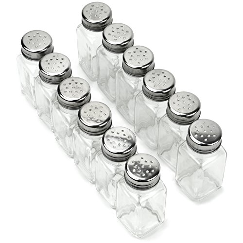 12 Pack of Spice Shakers, Salt & Pepper, Spices, Seasonings – Stainless Steel Top & Glass Body, Restaurant & Home Kitchen Supplies by Back of House Ltd.
