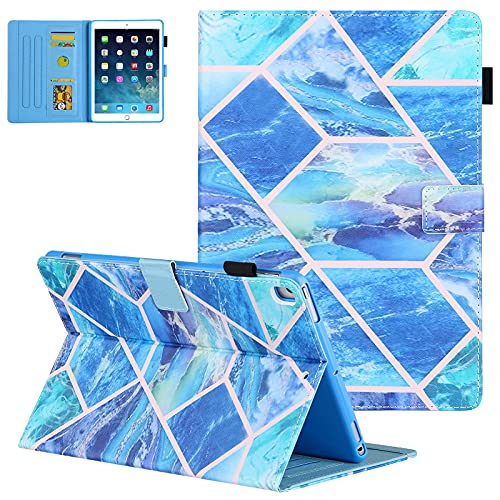 Uliking iPad 10.2 inch Case 2020/2019, iPad 8th Generation Case, iPad Air 3 Cover 2019, PU Leather Cover with Pen Holder, Stand Smart Case Auto Sleep Wake for iPad 10.2/10.5' Tablet, Blue Grid Marble