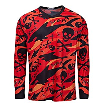 Cycling Jersey Men Long Sleeve MTB Motorcycle T Shirt Bike Bicycle Clothes Breathable Red Skull Size M