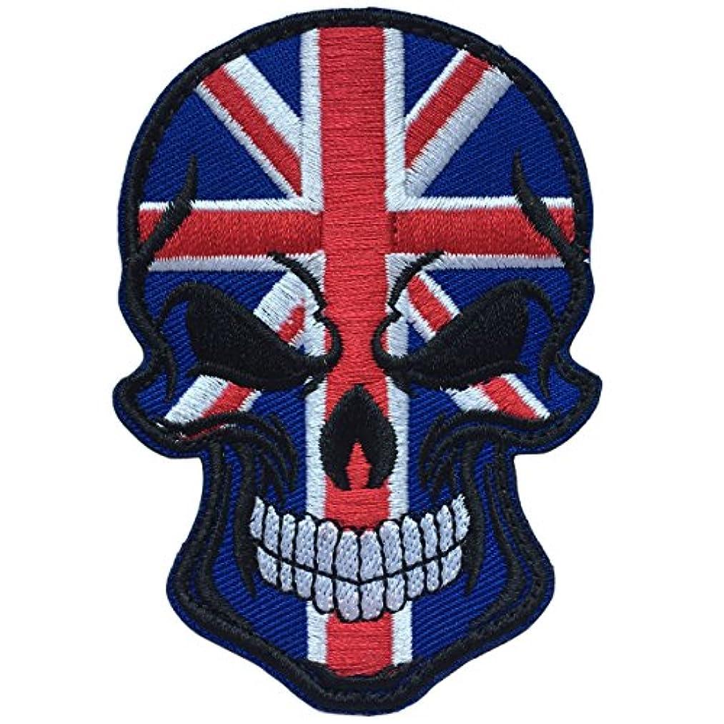 SpaceCar Skull Head w/Royal Union Jack Flag Military Tactical Morale Badge Hook Loop Fastener Patch 3.54
