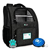 PetAmi Deluxe Pet Carrier Backpack for Small Cats and Dogs, Puppies | Ventilated Design, Two-Sided Entry, Safety Features and Cushion Back Support | for Travel, Hiking, Outdoor Use (Heather Charcoal)