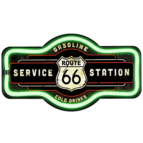 Route 66 Service Station - Reproduction Vintage Advertising Marquee Sign - Battery Powered LED Neon Style Light - 17 x 10 x 3 Inches