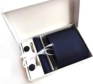 Polykor Classic Dark Blue Men Business Irregular Pattern Tie Set Party Ball Neck Tie Cufflinks Handkerchief Tie Clip Set with Box