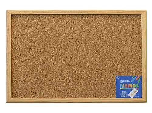 Tablero de corcho con marco de madera - Tablón de anuncios y notas para pared (60X30)