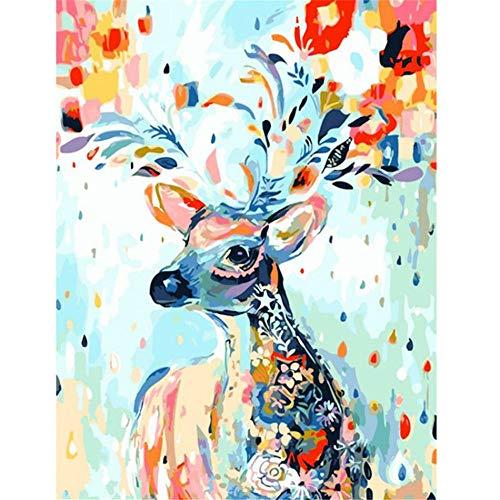 JHDGL Verf op cijfers Kleur Fawn Animal voor Volwassenen Kinderen Beginner DIY Digitale Olie Schilderen 16 * 20 inch met Borstels en Acryl Pigment(Frameless)