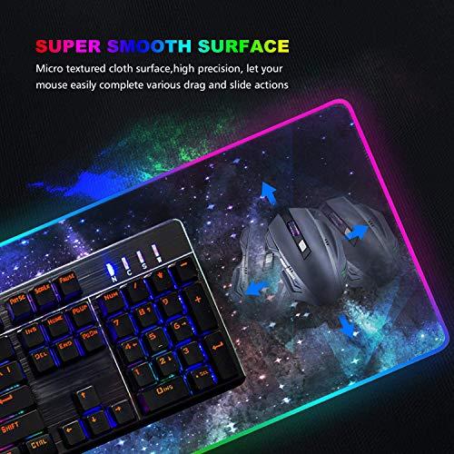 Gaming Mousepad RGB Mauspad 800x300 XXL Gaming Mouse Mat groß mit 14 Beleuchtungs Modi Wasserdicht Anti Rutsch Tastatur Mouse Pad für Computer PC Professionelle Gamer