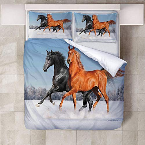 JNBGYAPS 3D Effect Printed duvet cover Black horse and orange horse in the snow Bedding set with Pillocases (with Zipper Closure) Soft Microfiber Quilt Cover Single135X200cm