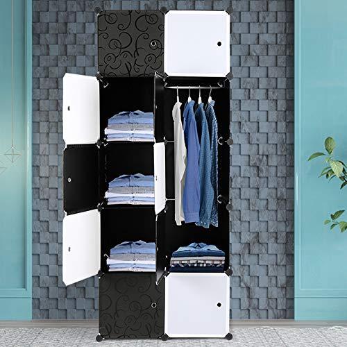 Alightup Armoire Penderie Modulable Portable Grande Capacité Storage avec Portes Étagère de Etagères Empilables Plastique Rangement Chambre Adultes pour Chaussures Vêtements Jouets Noir 10 Cubes