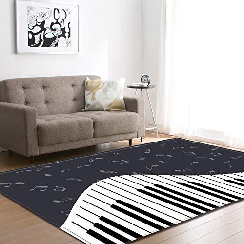 Grote tapijten voor woonkamer, eetkamer, slaapkamer, antislip, binnenkant, vloermatten, tapijten, wooncultuur, abstracte vintage, piano muzieknotes, modern afdruk 180 × 120 cm