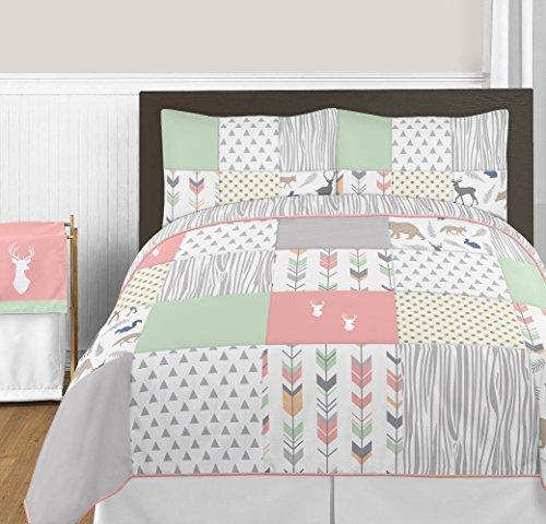 Sweet Jojo Designs Coral, Mint and Grey Woodsy Deer Girls 3 Piece Full/Queen Bedding Set