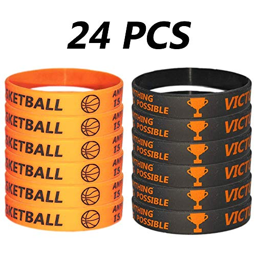 CupaPlay 24 PCS Basketball Motivational Silicone Wristband for Kids - Personalized Silicone Rubber - Sports Gifts - Party Favors and Supplies - Carnival/Events/Gifts/Prize