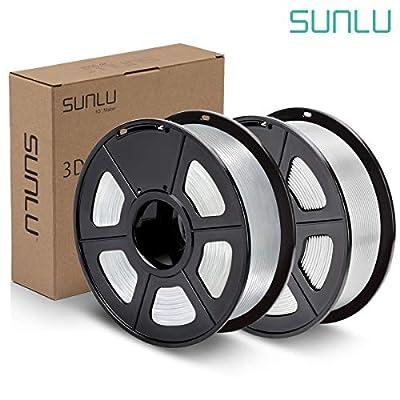 SUNLU PLA Plus Filament 1.75mm 3D Printer 3D Pens 2KG PLA+ Filament +/- 0.02 mm, White(PLA+)+Transparent(PLA)