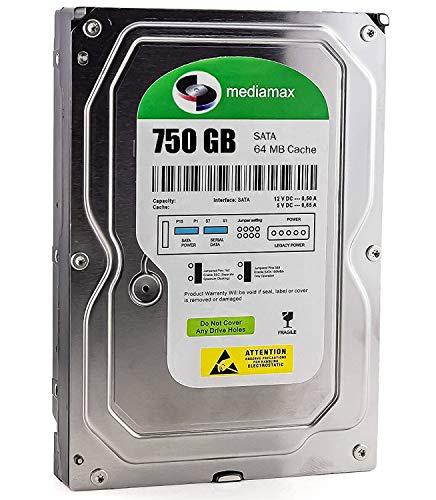 Mediamax 3,5 Zoll interne Festplatte 750GB HDD, SATA III, 6.0 Gb/s Cache 64MB, RPM: 7200 (U/min), WL750GSA6472B, SATA Festplatte interne HDD, Backup Festplatte für Desktop PC, Gaming Computer