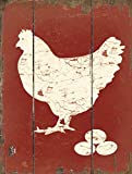 Barnyard Designs White Hen Laying Fresh Eggs Retro Vintage Wood Plaque Bar Sign Country Home Decor 15.75' x 11.75'