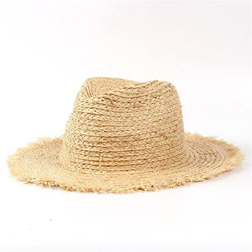 U/D Sombreros Sombrero de Paja 100% de Rafia Sombrero de Sol de Playa for Mujer Lhzus (Color : 1, Size : 56-58CM)
