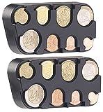 infactory Caja de monedas por Cambio: Set de 2 colectores de monedas euro con fijación rápida (Cambiar dispensador por los bolso)