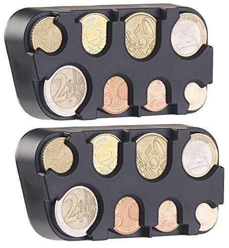 infactory Münzbox für Kleingeld: 2er-Set Euro-Münzsammler mit Schnell-Fixierung (Kleingeldspender für die Tasche)