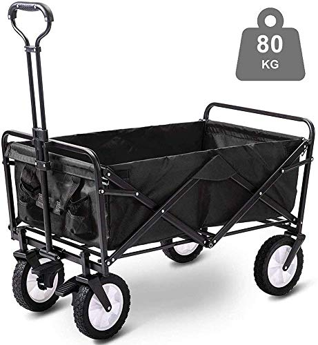 Home Equipment Storage Multifunction Portable Hand Trucks Folding Wagon Capacity 80Kg Portable Garden Cart with 4 Wheels and Steel Brakes Trolley Foldable Pull Wagon Hand Transport Cart Collapsible