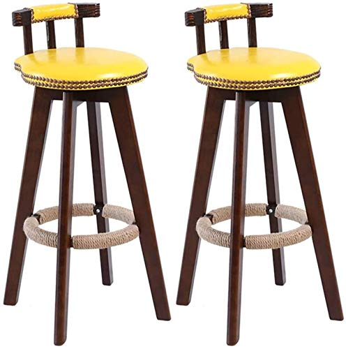 Adjustable Barstools Retro High Bar Chairs Set Of 2,Home Kitchen Counter Bar Chairs, Wooden Bar Seat For Patio Bistro Cafe And Living Room pub seat Counter Bar Chairs (Color : Yellow)