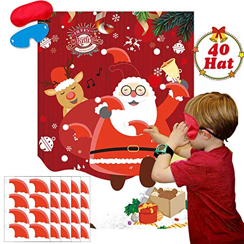 Pin The Christmas Hat On The Santa Games Large Santa Claus Games Poster for Kids Xmas Gifts Christmas Party Games Supplies - 40 Christmas Hat