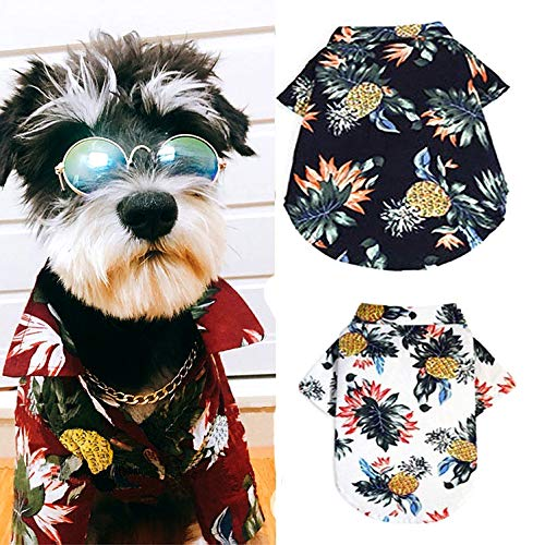 Ranphy Hawaiian Dog Shirt Pet Cotton T-Shirt Summer Printed Puppy Cat Tank Top Frenchie Bulldog Apparel Camp Luau Outfits Costume Vest Shirt,Polo Sunscreen Beach Wear Darkblue M