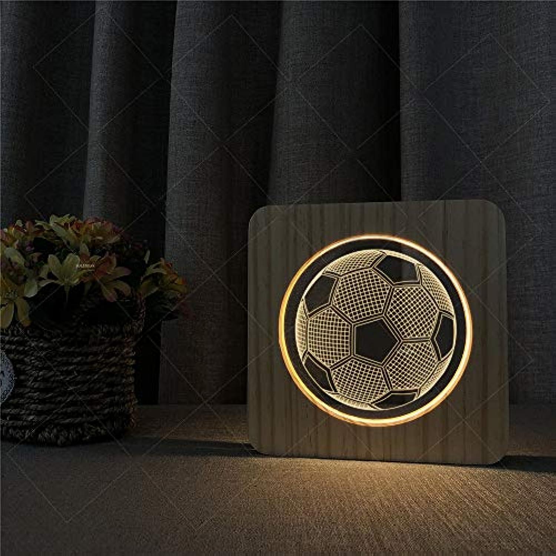 AUMING 3D Illusion Lampe USB LED Nachtlampe Warme Lichter Fuball Powerot 3D Holz Acryl Illusion Muster Schreibtischlampe Geschenk Für Kinder Kinder Erwachsene Schlafzimmer Wohnzimmer Dekoration