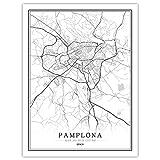 Impresión De Lienzo,España Pamplona Mapa De La Ciudad Moderna De Arte En Blanco Y Negro Pintura Mural Poster Minimalista Simple Modular Viviendo Cafe Habitación Decoración Personalizada Vertical,