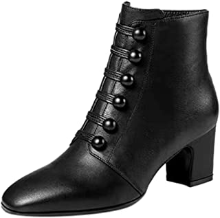 〓COOlCCI〓Women Ankle Boots & Booties, Pointed Toe Side Zipper Heel Lace Up Chunky High Heel Ankle Booties Combat Booties