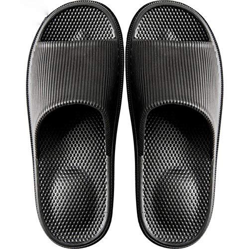 Youdiao Zapatillas de Masaje Antideslizantes para Mujer Zapatillas de Interior de EVA Zapatillas de baño Ligeras para casa para Mujer Sandalias Impermeables para Hombre Toboganes de baño-Negro, 42-43