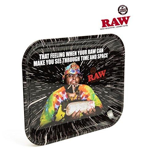 Raw - Bandeja de papel de liar de metal con diseño Oops y certificado