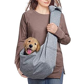 aofook Adjustable Dog Pet Sling Waterproof Carrier Bag with Soft Shoulder Pad Zippered Pocket for Outdoor Travel (Grey, Adjustment) 20