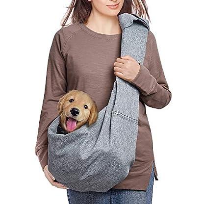 aofook Adjustable Dog Pet Sling Waterproof Carrier Bag with Soft Shoulder Pad Zippered Pocket for Outdoor Travel (Grey, Adjustment) 1