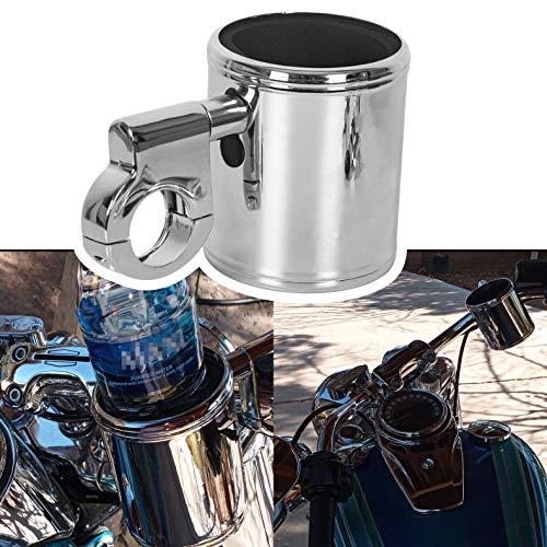 "Chrome Aluminum Adjustable Cup Holder Mount Handlebar Fits Harley ATV Motorcycle For 7/8' 1"" 1..."